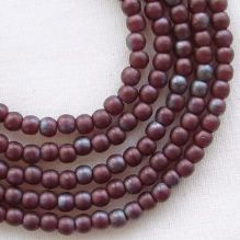 3mm Round Czech Glass Beads Matt Metallic Amethyst Lustre - 100